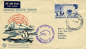Airmail etiquette - This 1959 cover from the Australian Antarctic Territory has a plain dark blue airmail etiquette in the upper left corner.