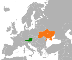 Map indicating locations of Austria and Ukraine
