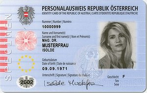 National identity cards in the European Economic Area - Image: Austrian ID card