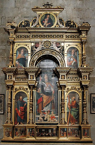 "Saint-Claude Cathedral - The so-called ""Holbein Altar"" (Autel d'Olbein) inside the cathedral"