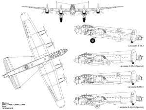 Orthographic projection of the Lancaster B Mk.I, with profiles detailing the B Mk.I (Special) with Grand Slam bomb, Hercules-powered B Mk.II with bulged bomb-bay doors and FN.64 ventral turret and the B Mk.III (Special) with the Upkeep store.