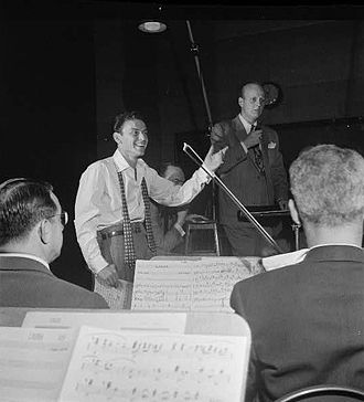 Axel Stordahl - Axel Stordahl at rehearsal with Frank Sinatra, Liederkranz Hall, New York, c. 1947.