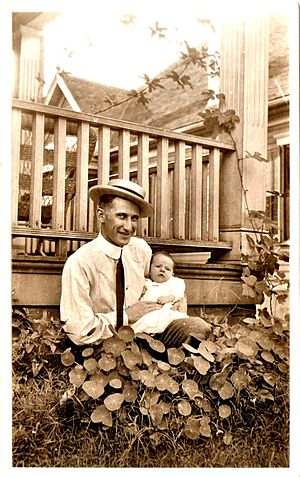 English: James M Masters as a baby in his fath...