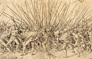"Push of pike - ""Bad war"", in an early 16th-century engraving by Hans Holbein."