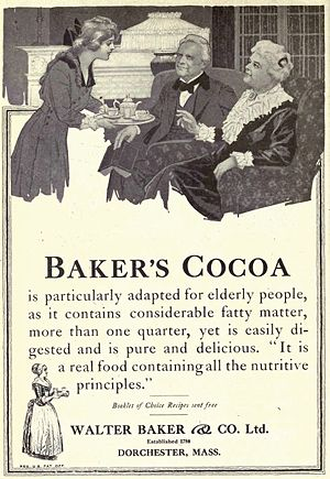 Dorchester, Boston - Baker's Cocoa Advertisement in Overland Monthly, January 1919. The manufacture of chocolate had been introduced in the United States in 1765 by John Hannon and Dr. James Baker in Dorchester. Walter Baker & Company was located in Dorchester.