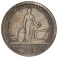 Baksida av medalj med kvinna samt text - Skoklosters slott - 99377.tif