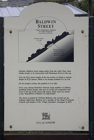 Baldwin Street - Information sign at the bottom of the street which reports a gradient of 1 in 2.86 at the steepest point