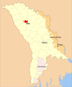Municipality of Bălți (in red) in Moldova