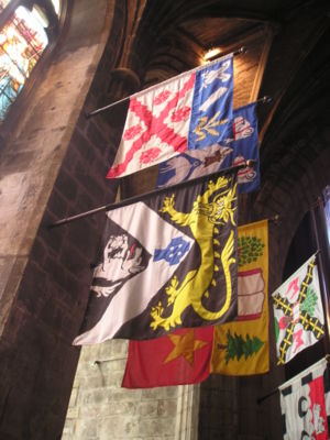 Heraldic flag - Banners of Knights of the Thistle displayed in St. Giles' Cathedral