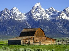 The John Moulton Barn on Mormon Row at the base of the Grand Tetons, Wyoming.