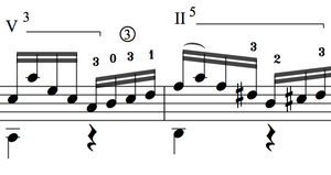 Barre chord notation in classical music uses r...