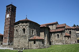 First Romanesque - Basilica dei Santi Pietro e Paolo in Agliate, Lombardy near Monza built in 875, considered to be the first church of Lombard Romanesque