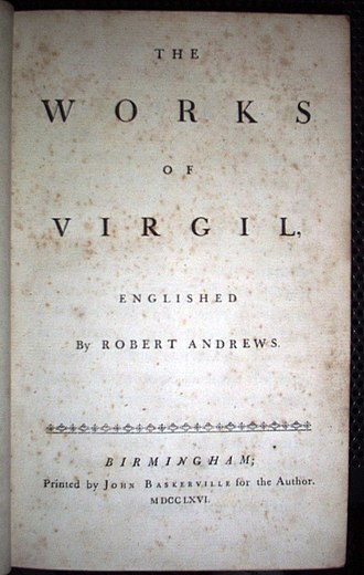 Blank verse - The title page of Robert Andrews' translation of Virgil into English blank verse, printed by John Baskerville in 1766