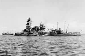 Japanese battleship Nagato in 1945