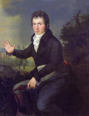 Beethoven hacia 1804, en la época de la Sonata Appassionata y de Fidelio. Decidido a «agarrar el destino por el cuello», compuso en el periodo de 1802 a 1812 una serie de obras brillantes y enérgicas características de su estilo «heroico».