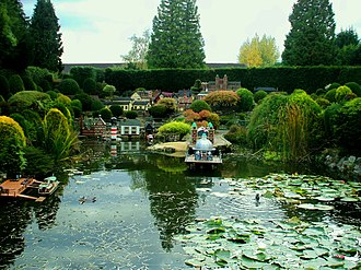 Bekonscot - A view across the lake, with harbour, Bekonscot model village