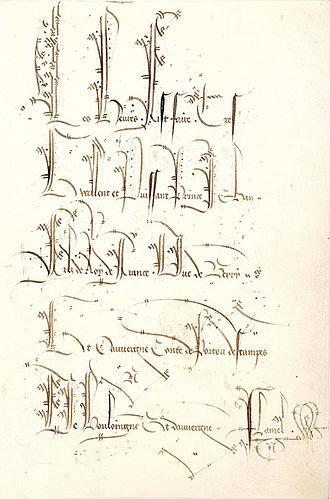 Belles Heures of Jean de France, Duc de Berry - Folio 1r with the elaborate ex libris inscription