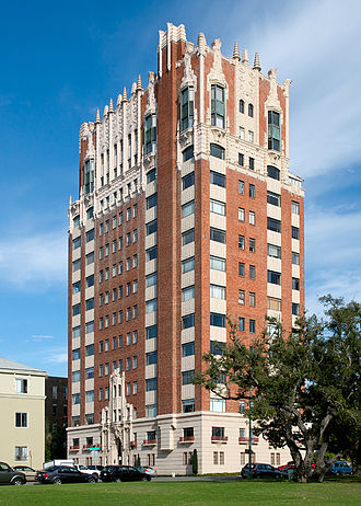 Lake Merritt - The Bellevue-Staten Building was designed by Herman Baumann and constructed in 1929 using an architectural blend of Spanish Colonial and Art Deco styles.