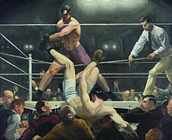 A painting of a boxer being knocked out of the ring.