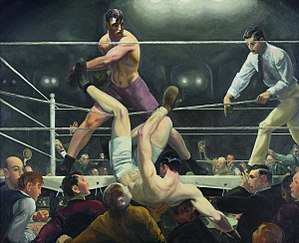 Luis Ángel Firpo - Firpo sending Dempsey outside the ring; painting by George Bellows.