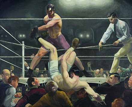 Firpo sending Dempsey outside the ring; painting by George Bellows. Bellows George Dempsey and Firpo 1924.jpg