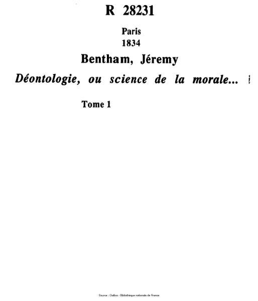 File:Bentham - Déontologie, ou science de la morale, tome 1.djvu