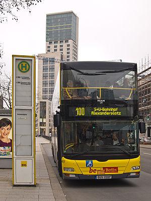 Public bus line 100 with double decker bus
