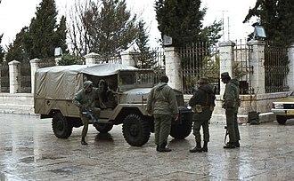 Israeli Military Governorate - Israeli soldiers in Bethlehem (Israeli Military Governorate) in 1978.
