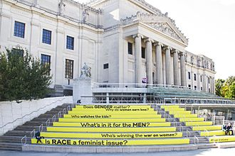 Feminist art - Image: Between the Door and the Street, Suzanne Lacy, Installation at the Brooklyn Museum