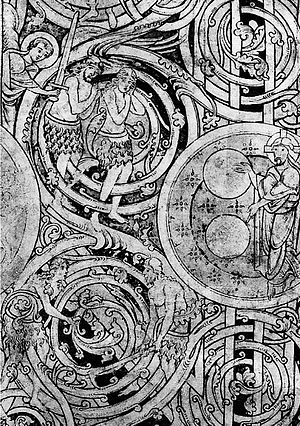 Bible: Creation story, l. 6 (detail with expul...
