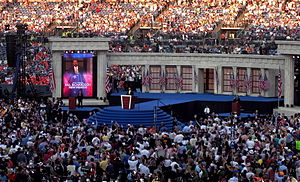 Bill Richardson presidential campaign, 2008 - Richardson speaks during the final day of the 2008 Democratic National Convention in Denver, Colorado.