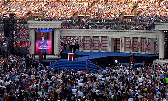 Bill Richardson 2008 presidential campaign - Richardson speaks during the final day of the 2008 Democratic National Convention in Denver, Colorado.