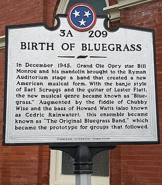 Ryman Auditorium - Tennessee Historical Commission marker outside Ryman Auditorium, signifying the site as the birthplace of Bluegrass music