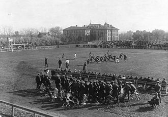 North Dakota State Bison football - Oct 20th, 1928 – NDAC (NDSU) vs. St. Thomas (View looking SE with Ceres Hall in the distance) Courtesy: NDSU Institute for Regional Studies