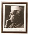Black and white portrait photograph of Jawaharlal Nehru presented to President John F. Kennedy.jpg