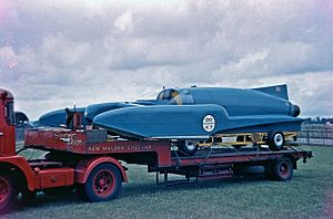 Donald Campbell -  Bluebird K7 on display at Goodwood Motor Racing circuit in 1960.