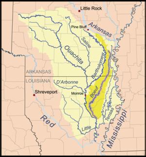 Boeuf River - Image: Boeufrivermap
