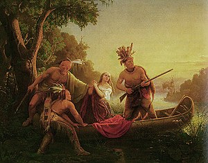 Capture and rescue of Jemima Boone - The Abduction of Daniel Boone's Daughter by the Indians by  Charles Wimar (1853)