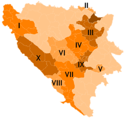 Map showing Cantons of the Federation of Bosnia and Herzegovina