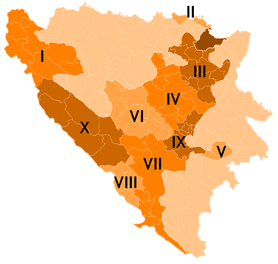Bosnia and Herzegovina subdivision map Cantons