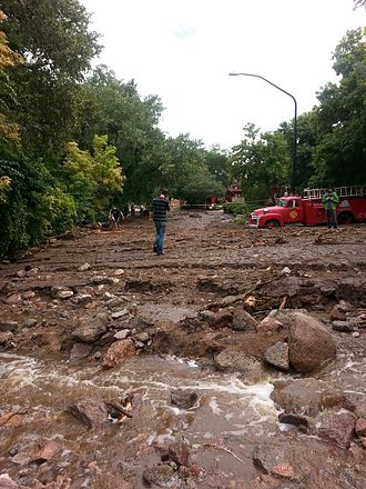 2013 Colorado floods - Boulder residents survey the damage on Friday, September 13.