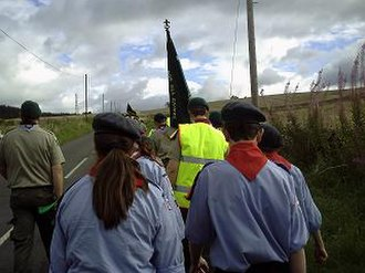 Baden-Powell Scouts' Association - B-PSA Scouts and Air Scouts marching to the Carr Edge camp site, 22 August 2008