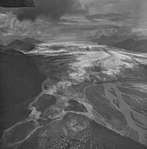 Brady Glacier, outwash plain in the foreground and terminus of valley glacier in the midground, September 16, 1972 (GLACIERS 5566).jpg