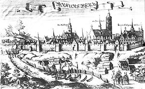 Braniewo - Braunsberg on the Passarge (now Pasłęka) River, 1684.  (From Altes und neues Preussen, Christoph Hartknoch)