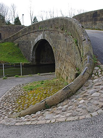 """Coping (architecture) - A bridge on the Lancaster Canal, featuring coping stones linked by large metal """"staples"""" ."""