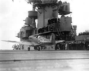 British Spitfire takes off from USS Wasp (CV-7).jpg