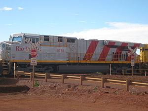 Pilbara Railways - Rio Tinto GE ES44DCi at Brockman 4 mine in June 2012