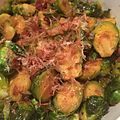 Brussels Sprouts with bacon, dashi, calamansi ponzu, fried garlic, togarishi, bonito flakes (15913625337).jpg
