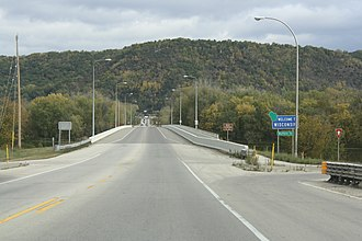 North Channel Bridge - Image: Buffalo County Wisconsin WIS54West Terminus Bridge