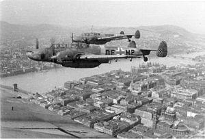 Messerschmitt Bf 110 - Bf 110s in flight above Budapest. 1944